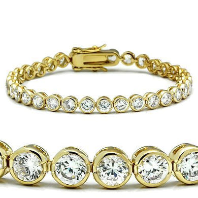47202 - Gold Brass Bracelet with AAA Grade CZ  in Clear