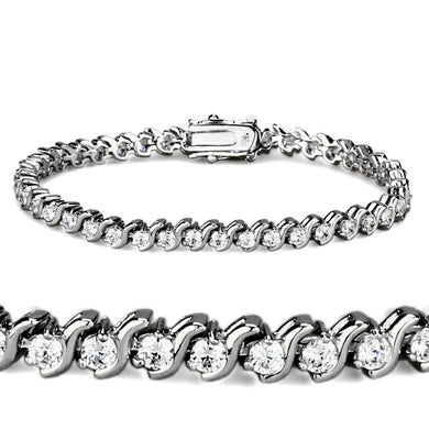 47203 - Rhodium Brass Bracelet with AAA Grade CZ  in Clear