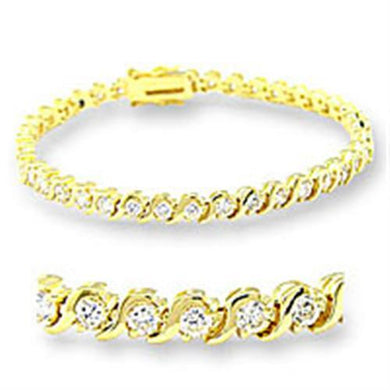 47204 - Gold Brass Bracelet with AAA Grade CZ  in Clear