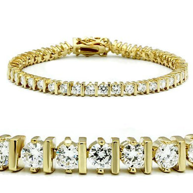 47205 - Gold Brass Bracelet with AAA Grade CZ  in Clear