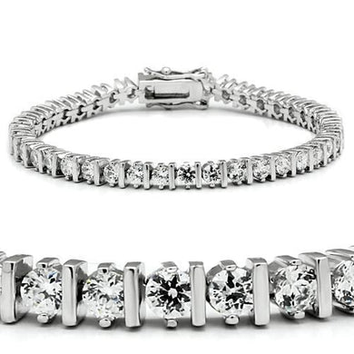 47206 - Rhodium Brass Bracelet with AAA Grade CZ  in Clear