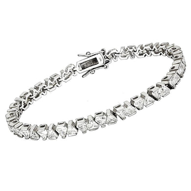 47302 - Rhodium Brass Bracelet with AAA Grade CZ  in Clear