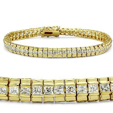 47303 - Gold Brass Bracelet with AAA Grade CZ  in Clear