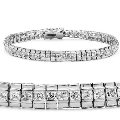 47304 - Rhodium Brass Bracelet with AAA Grade CZ  in Clear