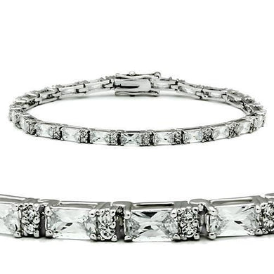 47401 - Rhodium Brass Bracelet with AAA Grade CZ  in Clear