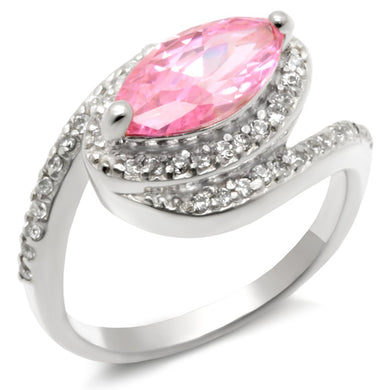 49509 - High-Polished 925 Sterling Silver Ring with AAA Grade CZ  in Rose