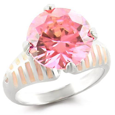 49707 - High-Polished 925 Sterling Silver Ring with AAA Grade CZ  in Rose