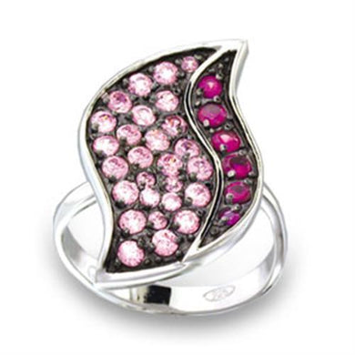49806 - Rhodium + Ruthenium 925 Sterling Silver Ring with AAA Grade CZ  in Multi Color