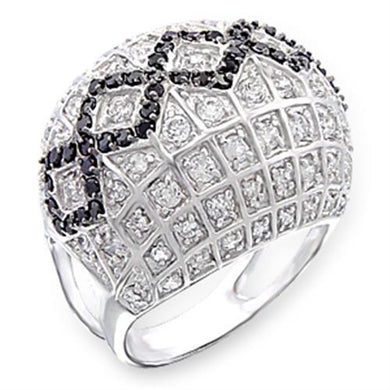 50519 - Rhodium + Ruthenium 925 Sterling Silver Ring with AAA Grade CZ  in Jet