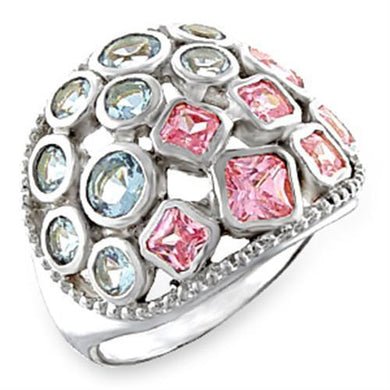 51014 - High-Polished 925 Sterling Silver Ring with AAA Grade CZ  in Multi Color