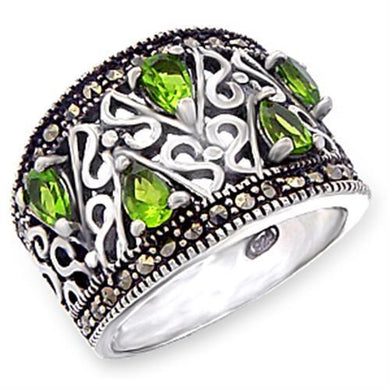 51411 - Antique Tone 925 Sterling Silver Ring with Synthetic Spinel in Peridot