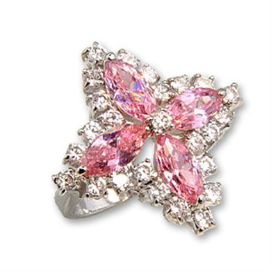 56503 - Rhodium Brass Ring with AAA Grade CZ  in Rose