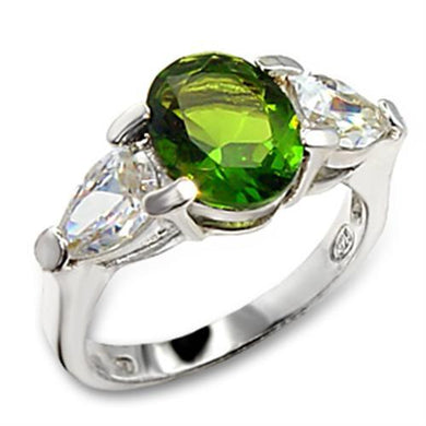 60411 - High-Polished 925 Sterling Silver Ring with Synthetic Spinel in Peridot