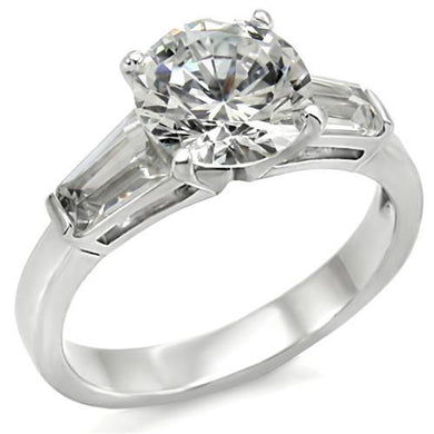 61110 - High-Polished 925 Sterling Silver Ring with AAA Grade CZ  in Clear