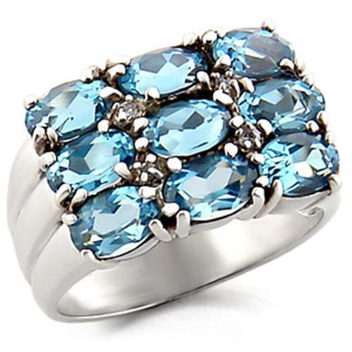 6X002 - High-Polished 925 Sterling Silver Ring with Synthetic Spinel in Sea Blue