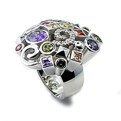 6X051 - Rhodium Brass Ring with AAA Grade CZ  in Multi Color