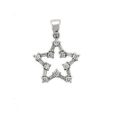 6X081 - High-Polished 925 Sterling Silver Pendant with AAA Grade CZ  in Clear