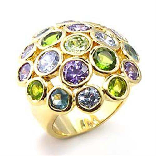 6X095 - Gold Brass Ring with AAA Grade CZ  in Multi Color