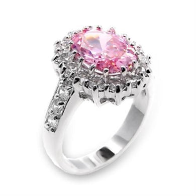6X204 - High-Polished 925 Sterling Silver Ring with AAA Grade CZ  in Rose
