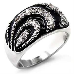 6X226 - Rhodium Brass Ring with AAA Grade CZ  in Clear