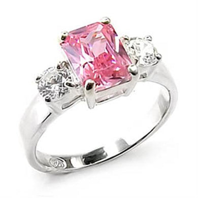 6X246 - High-Polished 925 Sterling Silver Ring with AAA Grade CZ  in Rose