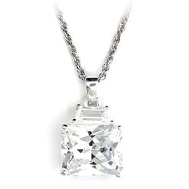 6X304 - High-Polished 925 Sterling Silver Pendant with AAA Grade CZ  in Clear