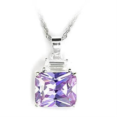6X306 - High-Polished 925 Sterling Silver Pendant with AAA Grade CZ  in Light Amethyst