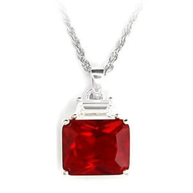 6X309 - High-Polished 925 Sterling Silver Pendant with Synthetic Garnet in Ruby