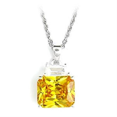 6X310 - High-Polished 925 Sterling Silver Pendant with AAA Grade CZ  in Topaz