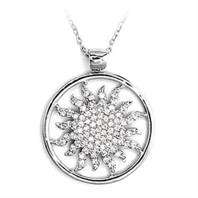 6X324 - High-Polished 925 Sterling Silver Chain Pendant with AAA Grade CZ  in Clear