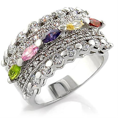 7X129 - Rhodium Brass Ring with AAA Grade CZ  in Multi Color