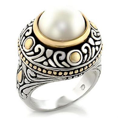 7X137 - Reverse Two-Tone Brass Ring with Synthetic  in White