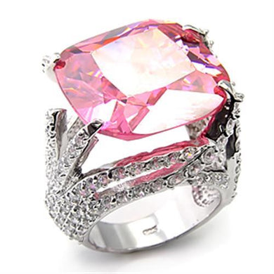 7X250 - Rhodium 925 Sterling Silver Ring with AAA Grade CZ  in Rose