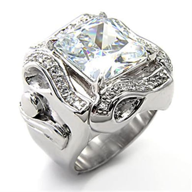 7X317 Rhodium 925 Sterling Silver Ring with AAA Grade CZ in Clear