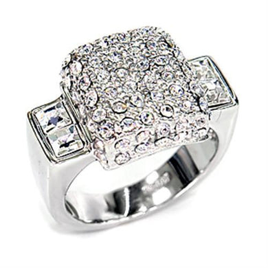 7X384 - Rhodium 925 Sterling Silver Ring with Top Grade Crystal  in Clear