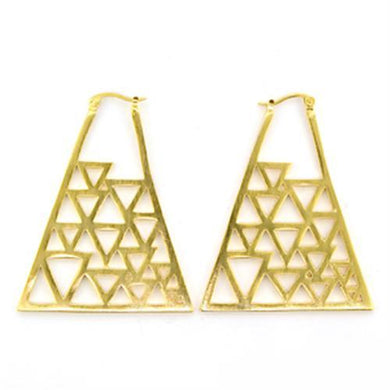81017 - Gold & Brush Brass Earrings with No Stone