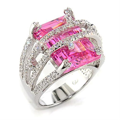 8X013 - Rhodium 925 Sterling Silver Ring with AAA Grade CZ  in Rose