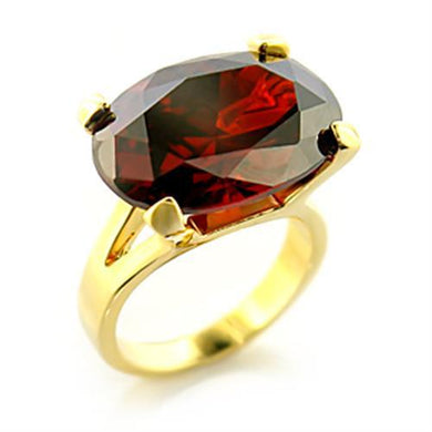 8X102 - Gold Brass Ring with AAA Grade CZ  in Garnet