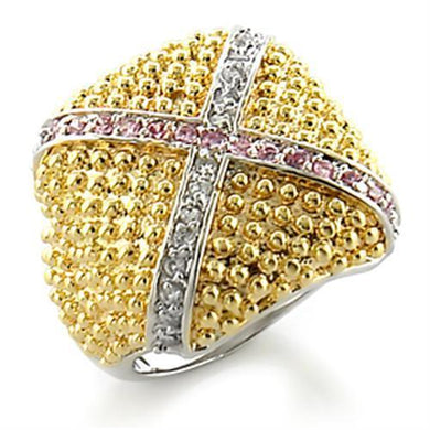 8X144 - Gold+Rhodium Brass Ring with AAA Grade CZ  in Rose