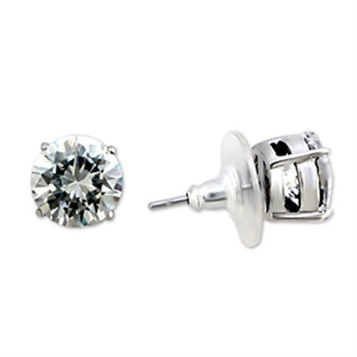 8X167 - Rhodium Brass Earrings with AAA Grade CZ  in Clear