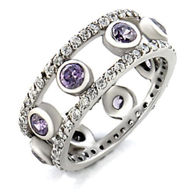 9W078 - Rhodium Brass Ring with AAA Grade CZ  in Amethyst