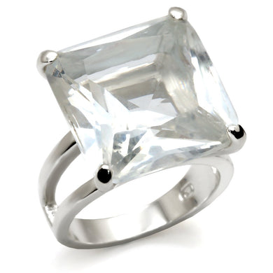 9X026 - High-Polished 925 Sterling Silver Ring with AAA Grade CZ  in Clear