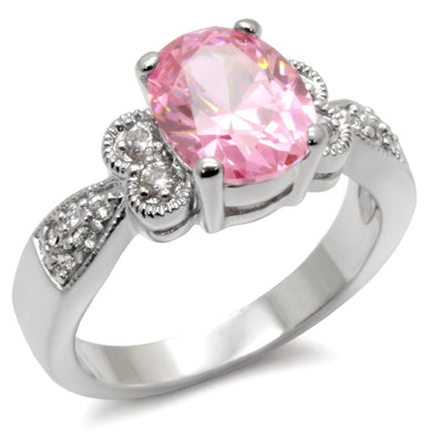 9X045 - High-Polished 925 Sterling Silver Ring with AAA Grade CZ  in Rose