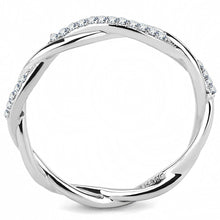 Load image into Gallery viewer, DA042 - High polished (no plating) Stainless Steel Ring with AAA Grade CZ  in Clear