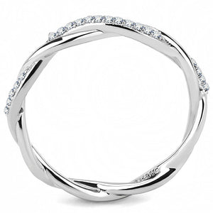 DA042 - High polished (no plating) Stainless Steel Ring with AAA Grade CZ  in Clear
