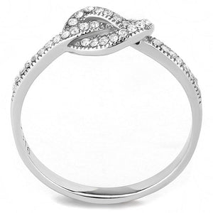 DA053 - High polished (no plating) Stainless Steel Ring with AAA Grade CZ  in Clear