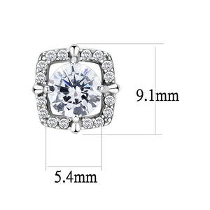 DA070 - High polished (no plating) Stainless Steel Earrings with AAA Grade CZ  in Clear