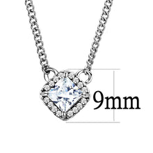 Load image into Gallery viewer, DA096 - High polished (no plating) Stainless Steel Chain Pendant with AAA Grade CZ  in Clear