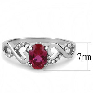 DA119 - High polished (no plating) Stainless Steel Ring with AAA Grade CZ  in Ruby