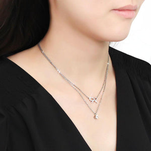 DA230 - High polished (no plating) Stainless Steel Necklace with AAA Grade CZ  in Clear